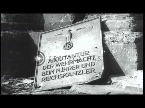 Damaged German Chancellery building in Berlin, Germany after World War II. HD Stock Footage