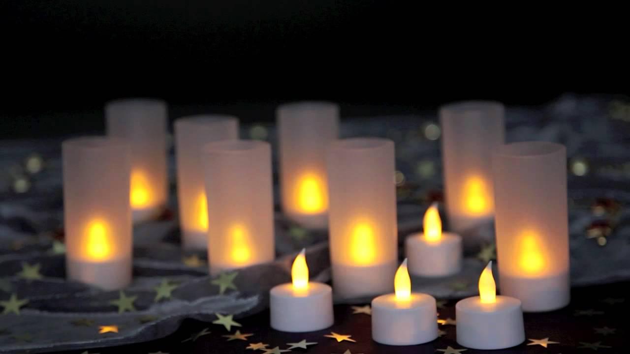 led teelichter mit ladeger t set de bougies r chaud. Black Bedroom Furniture Sets. Home Design Ideas