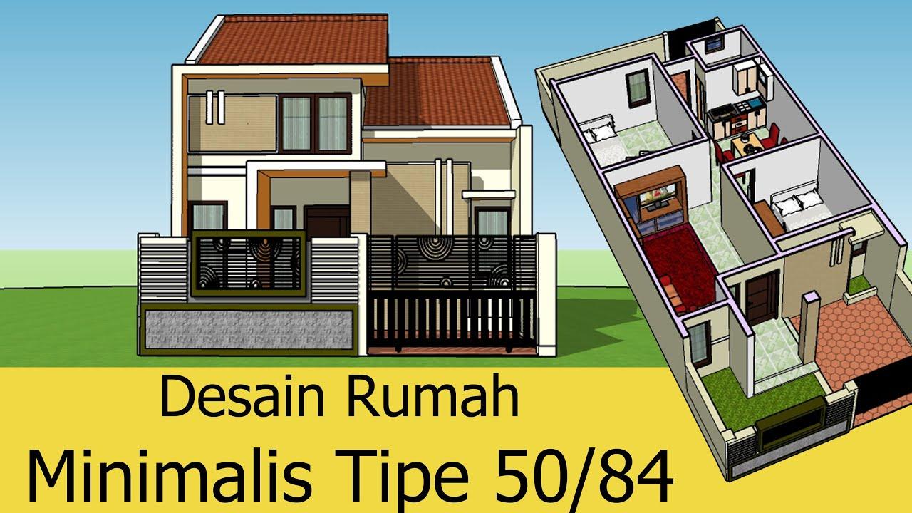 Desain Rumah Minimalis Type 50 2 Kamar 1 Ruang Tamu Keluarga 1 Dapur Ruang Makan Dan 1 Wc Youtube