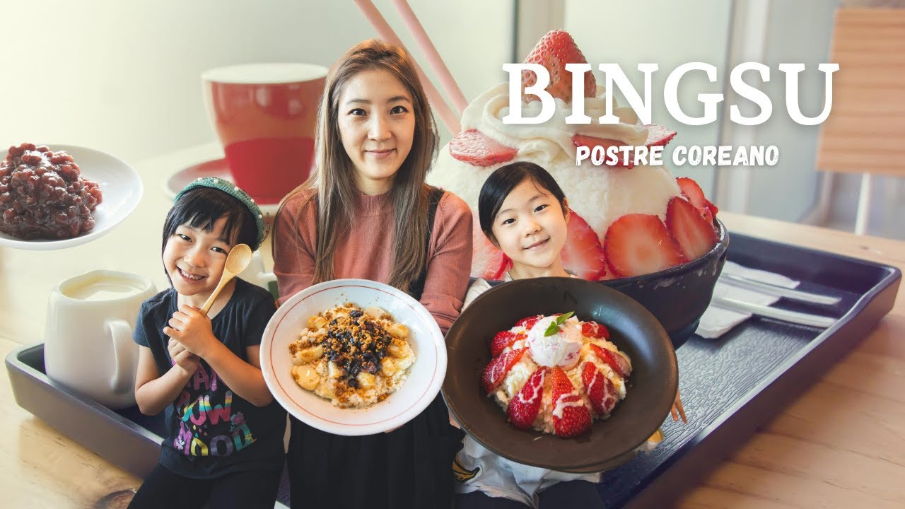 Postre Coreano BINGSU (con Frijol Dulce y Fresa)ㅣCoreanas en MexicoㅣFamilia Mexicoreana