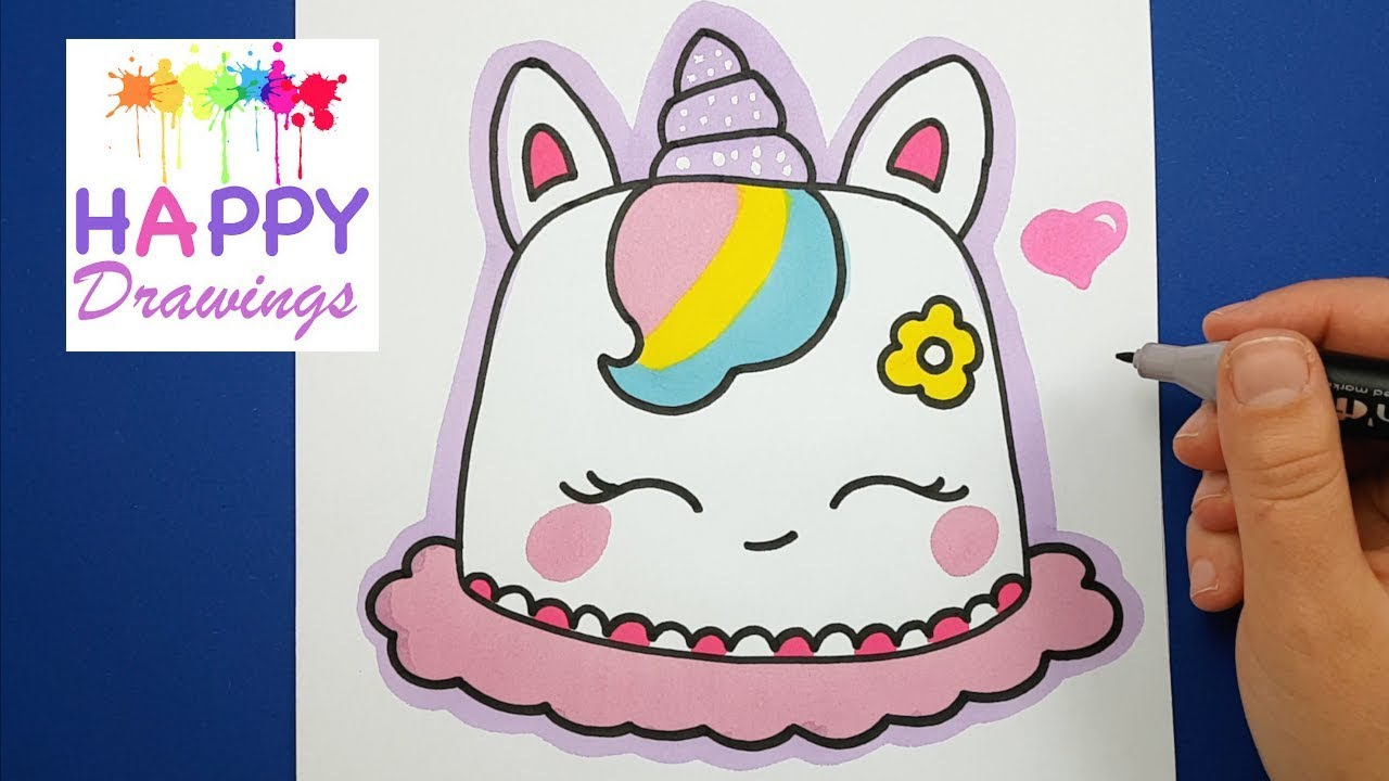 How to Draw and COLOR a Cute Unicorn Cake Super EASY ...