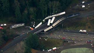 Aerial Video Reveals Extent of Amtrak Crash