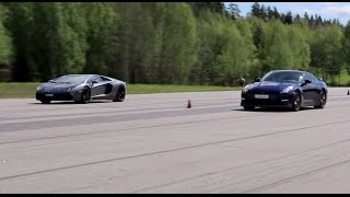 [50fps] Nissan GTR 550 HP vs Lamborghini LP700-4 Aventador GTBOARD.com Event May 2015