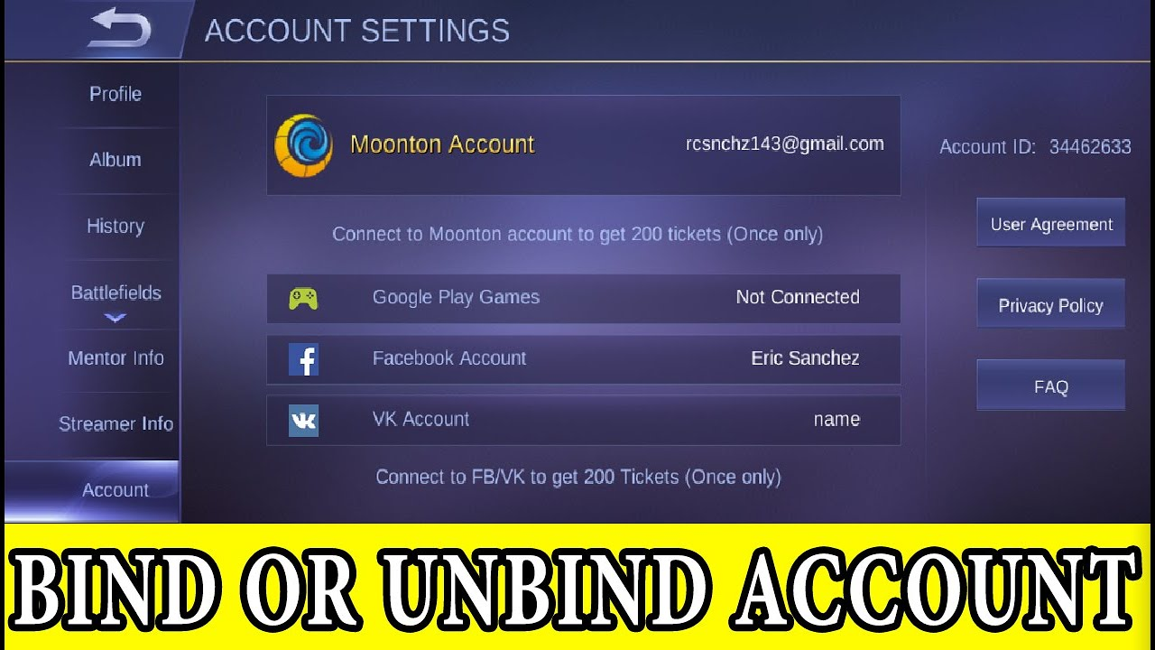 How To Unbind Facebook From Mobile Legends Account 2020 Youtube