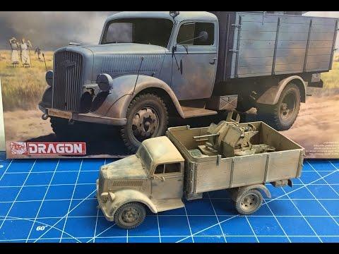 Building The Dragon Models 1/35 German 3 ton Truck with 2 cm flak Gun North Africa