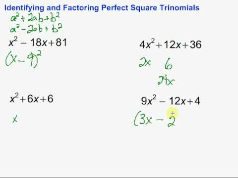 Identifying and Factoring Perfect Square Trinomials - YouTube