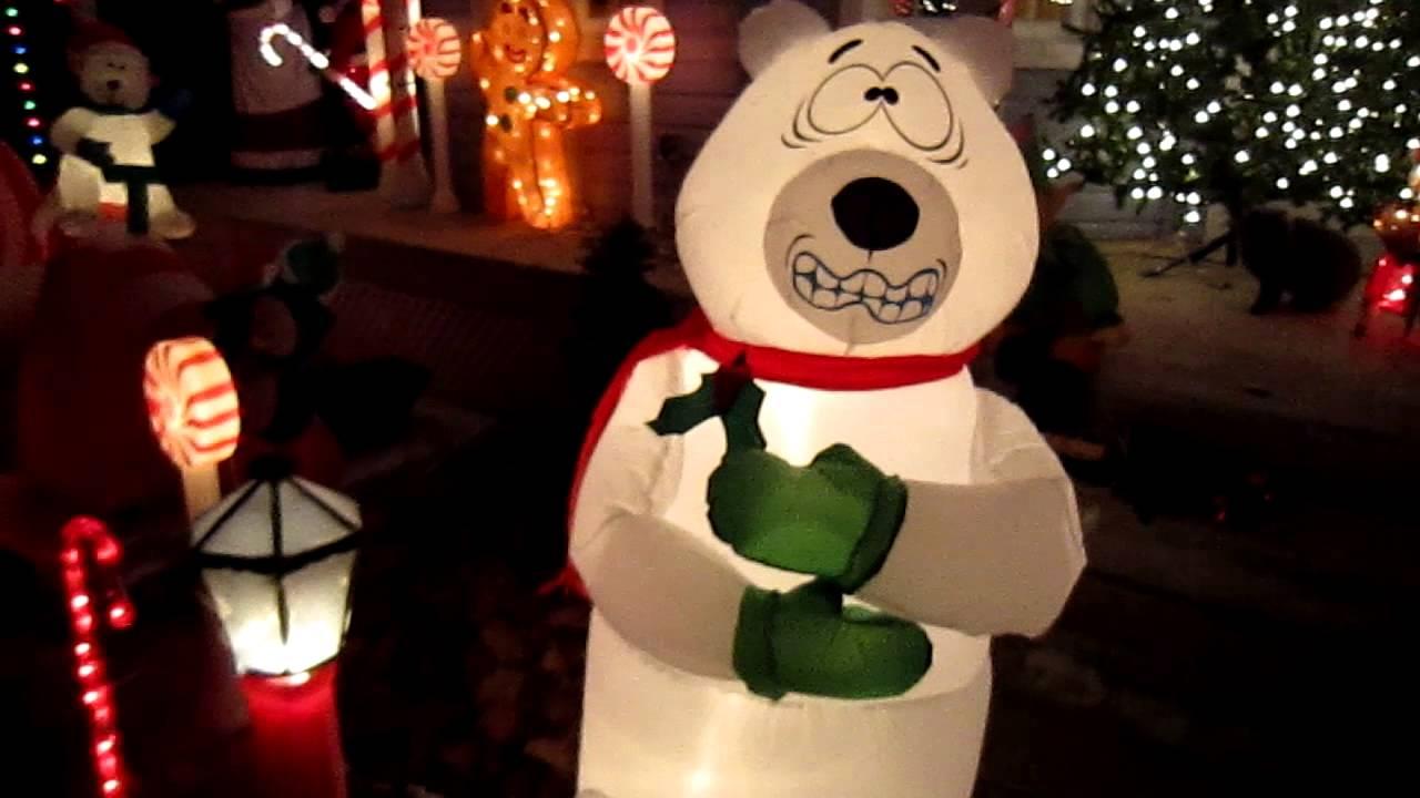 inflatable shivering polar bear youtube - Polar Bear Inflatable Christmas Decorations