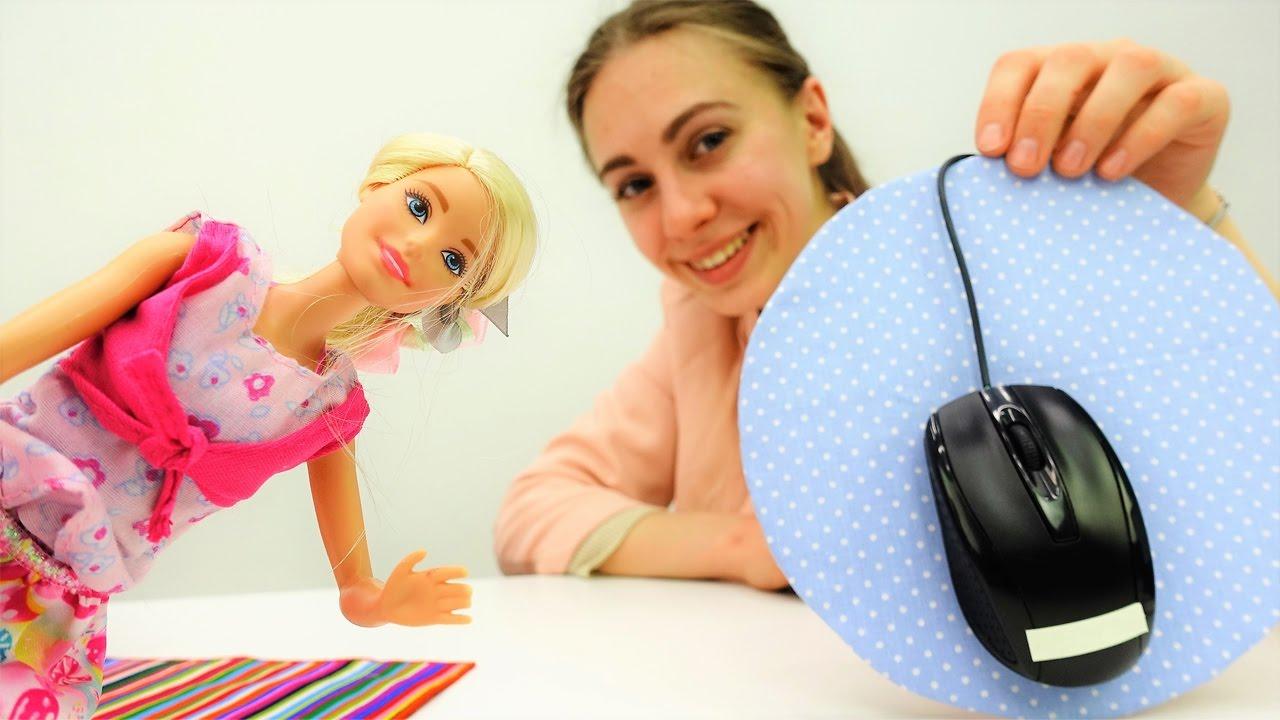Мастерим коврик для мыши с Барби. Видео для девочек