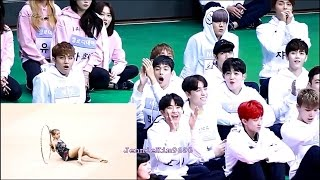 SEVENTEEN 세븐틴 and more idol reaction to WJSN(CHENGXIAO)우주소녀 성소 - Rhythmic Gymnastics 리듬체조(Rehearsal)
