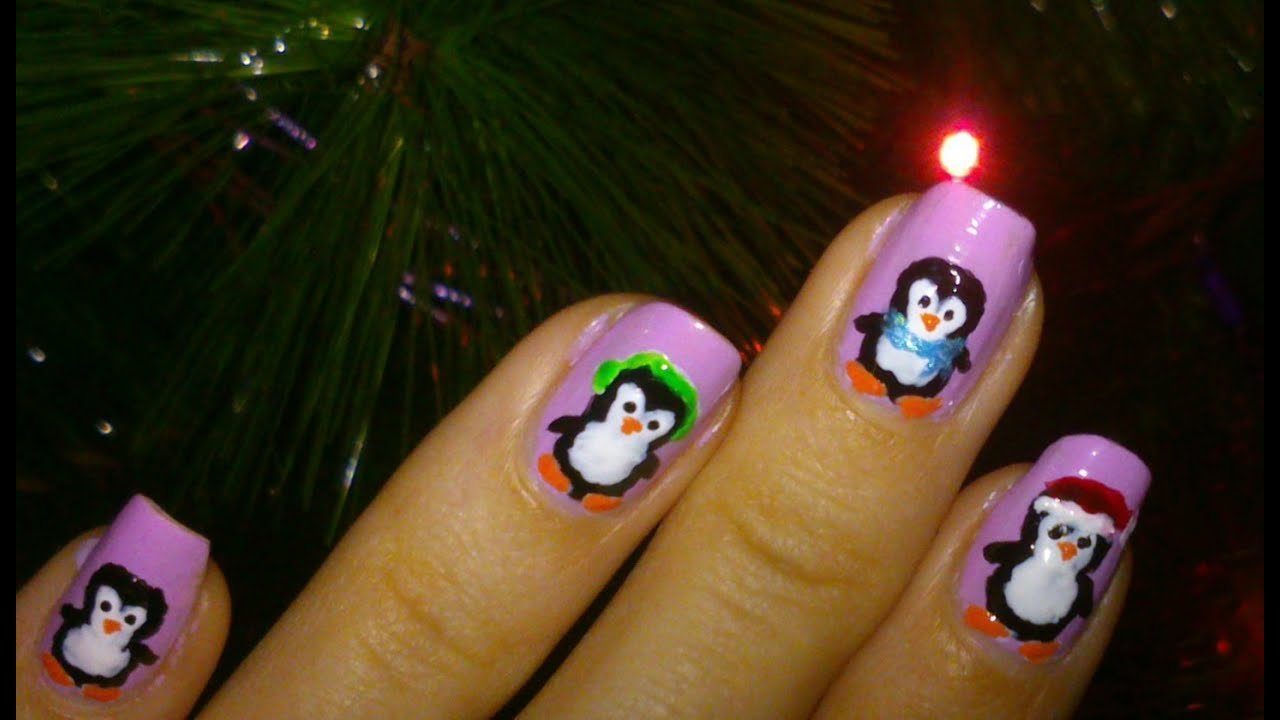 christmas nails penguin nail design youtube