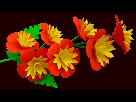 Diy Flower Stick | DIY Stick Flower Making with Color Paper | Stick Paper Flower for Home Decor