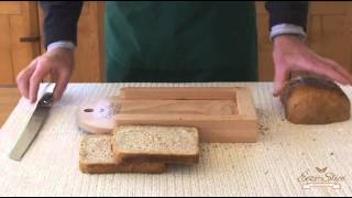 "The Easy To Use ""eezi-slice Wooden Bread Board"" - The Best Device For Slicing A Fresh Bread Loaf."