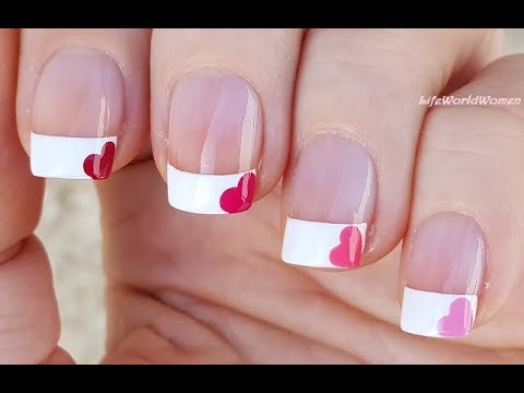 French Manicure With Heart Nail Art Design Using Dotting Tool