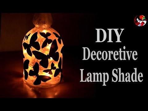 Easy Glass Bottle Crafts For Home Decoration   DIY Night Lamp Shade For Teenage Girls