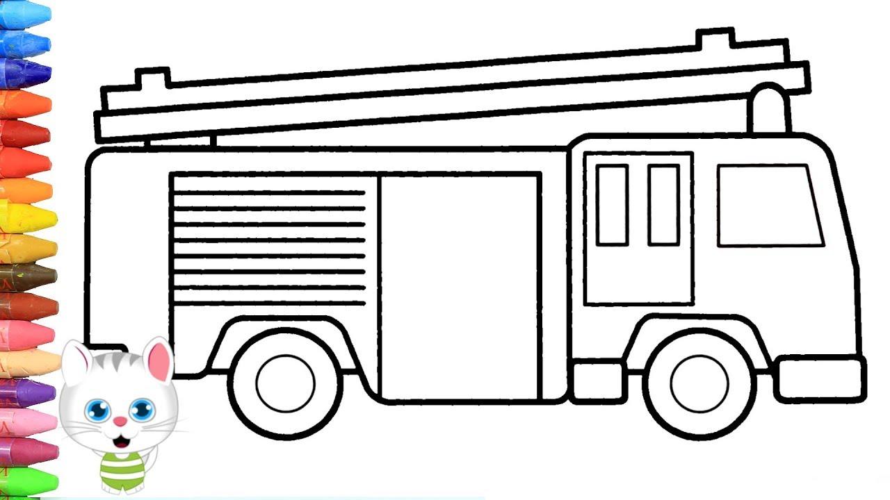 Como Dibujar Y Colorear Camion De Bomberos Dibujos Para Ninos