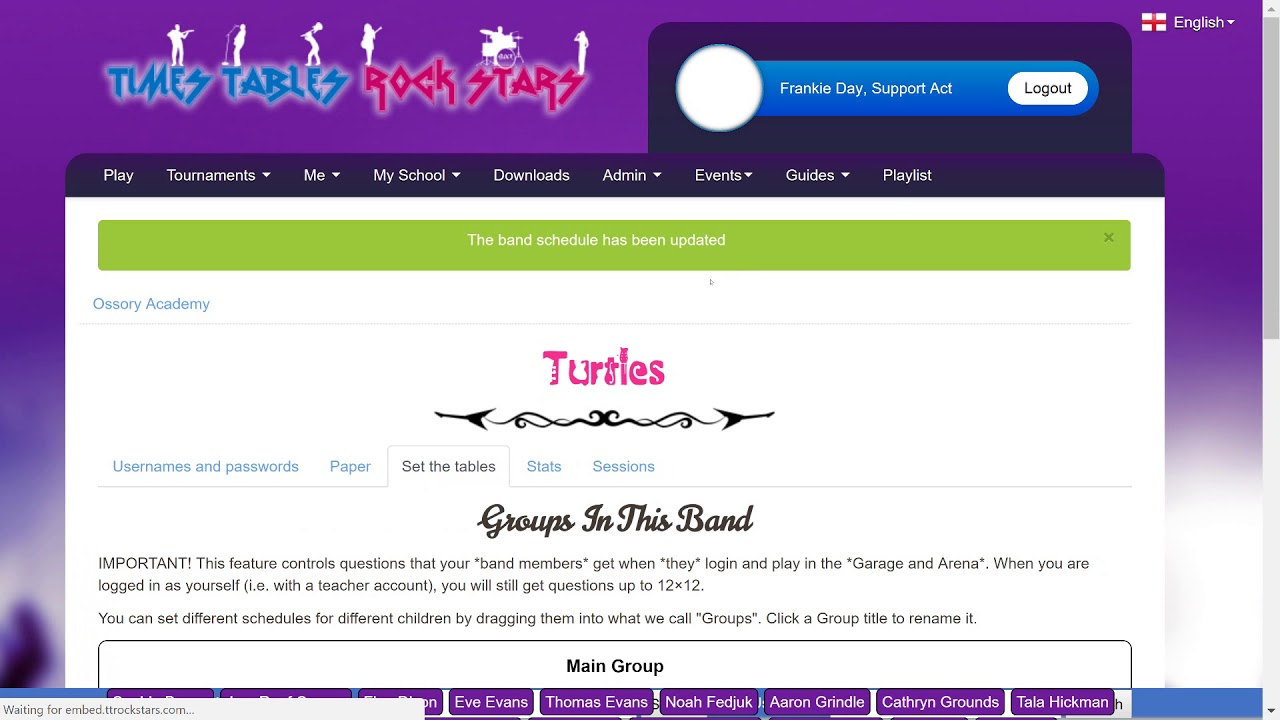 Times Table Rockstars - Page Site
