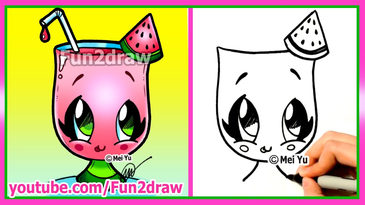how to draw cartoons cute easy watermelon drink youtube