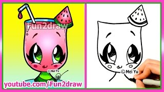 How to Draw Cartoons - Cute Easy Watermelon Drink