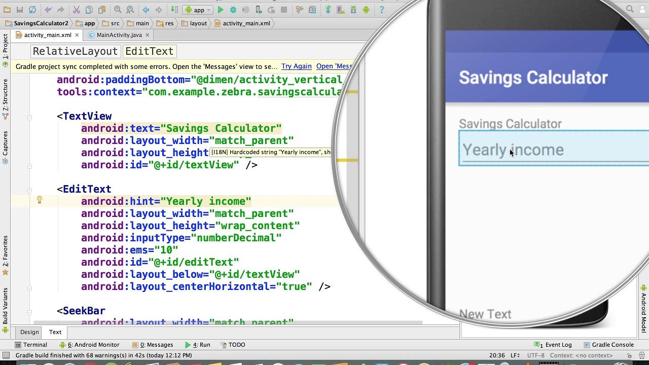 Java - Change text on Screen | Savings Calculator Project
