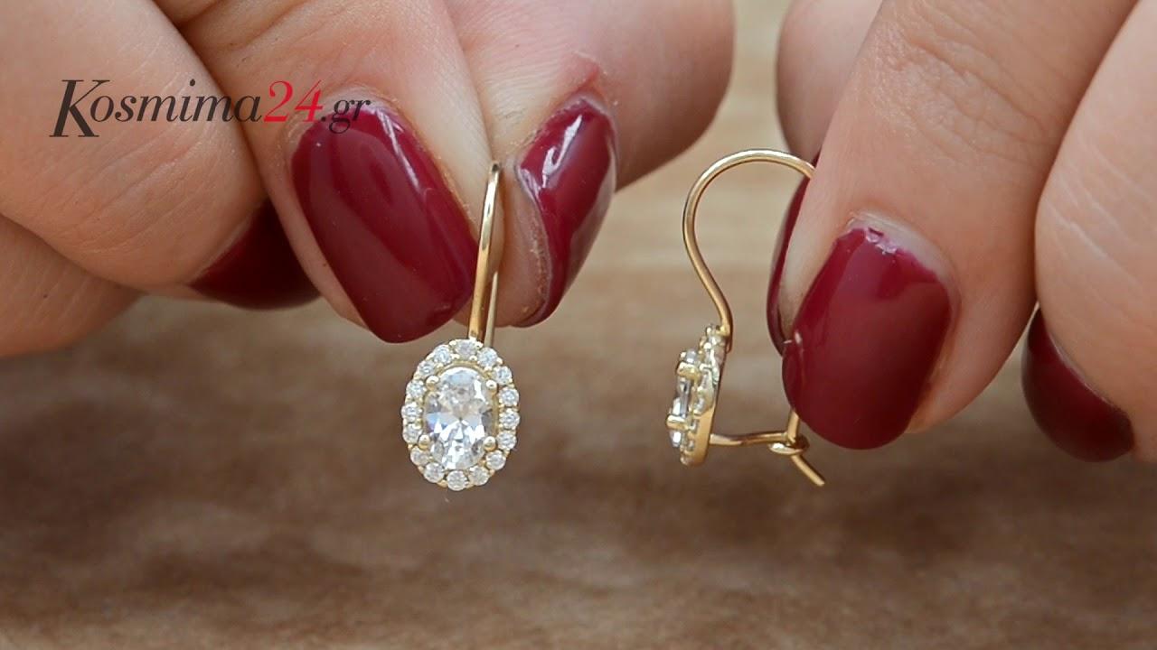 Κρεμαστά σκουλαρίκια ροζέτες Κ14 026572 - YouTube de3550ccbb9