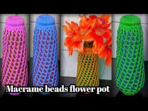 diy-macrame-beads-flower-pot- macrame-new-design-wall-hanging-flower-vase -macrame-art-by-s-n-hegde.