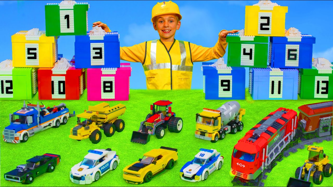 Kids Learn Numbers and Pretend Play with Toy Vehicles