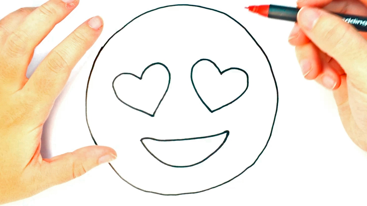 How To Draw A Heart Eyes Emoji For Kids