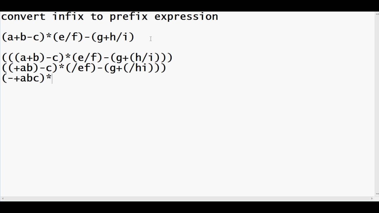 How to convert infix to prefix - YouTube
