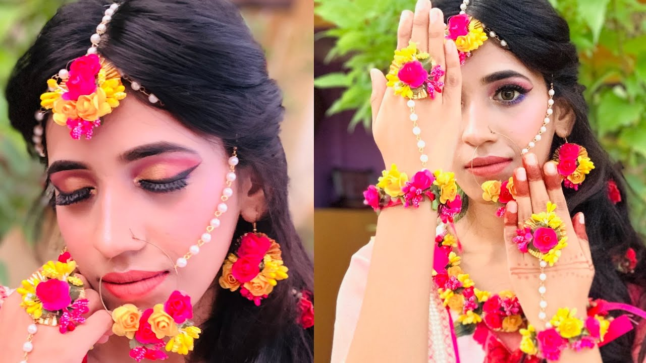 Haldi/sangeet makeup tutorial step by step/bridal series |shrutimakeover|