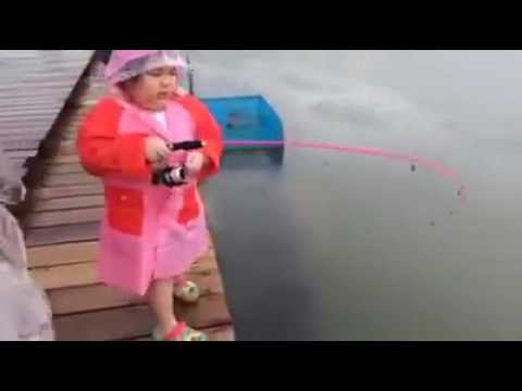 The Cutest Catch. Little Girl Catches Big Fish