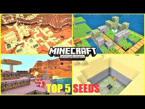 Minecraft PE TOP 5 SEEDS - Mesa Biome NEXT TO Mushroom Biome ! Ruin On Farm & MORE | MCPE 1.12