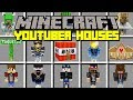 Minecraft YOUTUBER HOUSE MOD! | INSTANT BUILD FAMOUS YOUTUBER HOUSES! | Modded Mini-Game