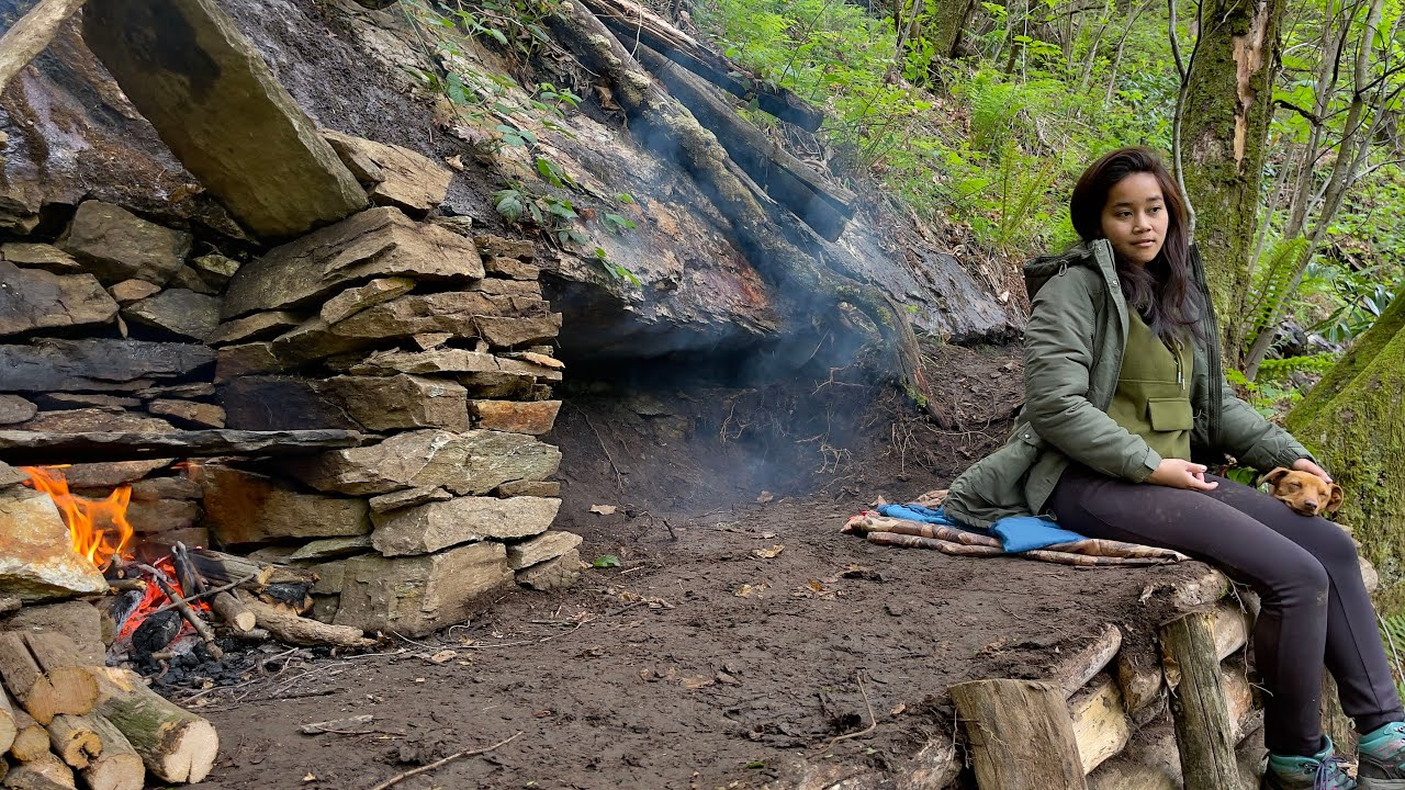 2 Days CAMPING at my BUNKER - Survival Shelter - BUSHCRAFT - No Tent - TOMAHAWK STEAK Cook on STONE