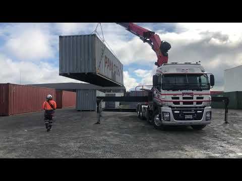 40'Ft Shipping Container Loading Using a Hiab Crane Truck
