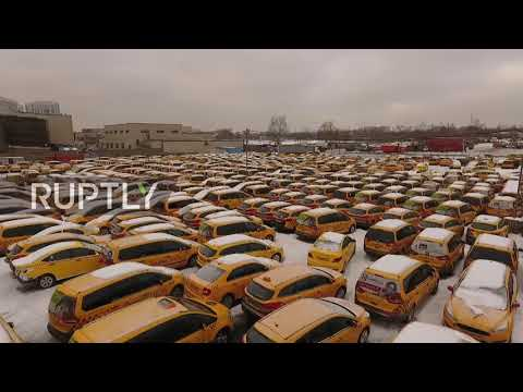 Where taxis come to die! Yellow cabs find peace in Moscow's graveyard