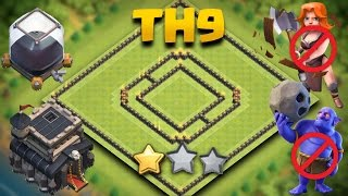 Clash Of Clans | TH9 Best Trophy Saving Base (Town Hall 9 De Hybrid Guaranteed 1 Star) + Replays
