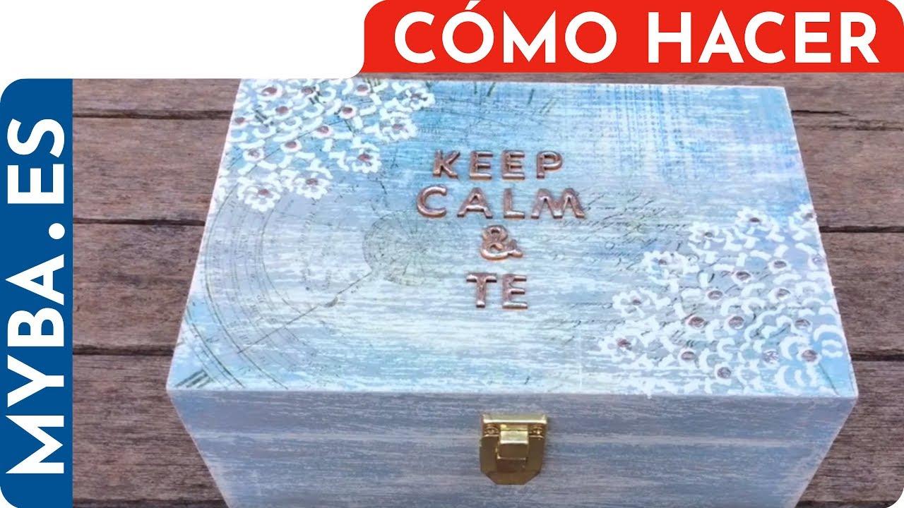 Decorar caja de madera caja de t con decoupage decapado y stencil youtube - Decorar cajas de madera con papel ...