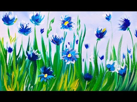 Easy acrylic Painting | Abstract Cornflowers | ASL Art Sherpa