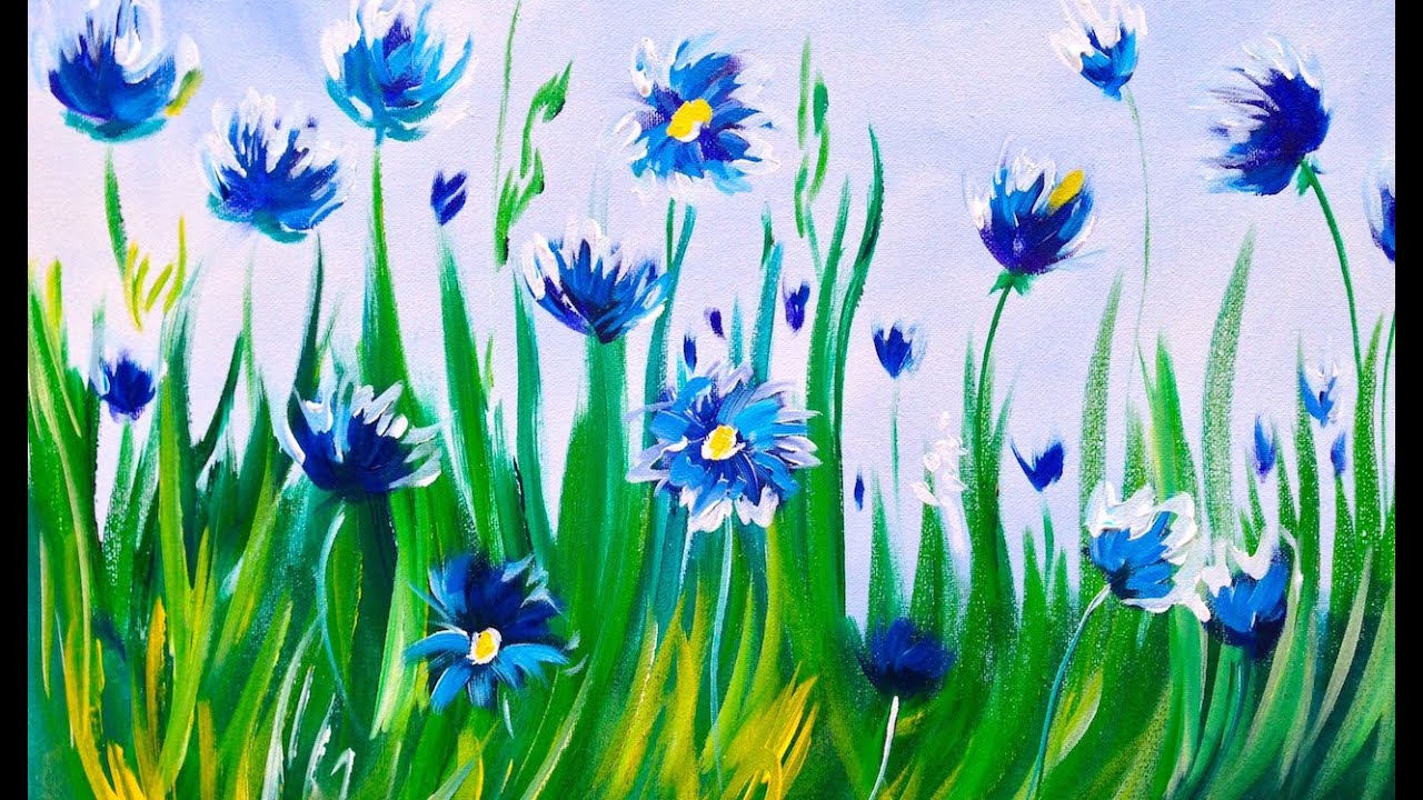 Easy Acrylic Painting Abstract Cornflowers Asl Art Sherpa You