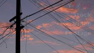 Beautiful Sunset Today in Redish Purple w/ Power & Telephone Poles / Lines | HD Stock Video Footage