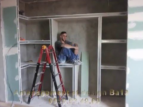 Travaux decoration etagere ba13 placoplatre youtube for Decoration ba13