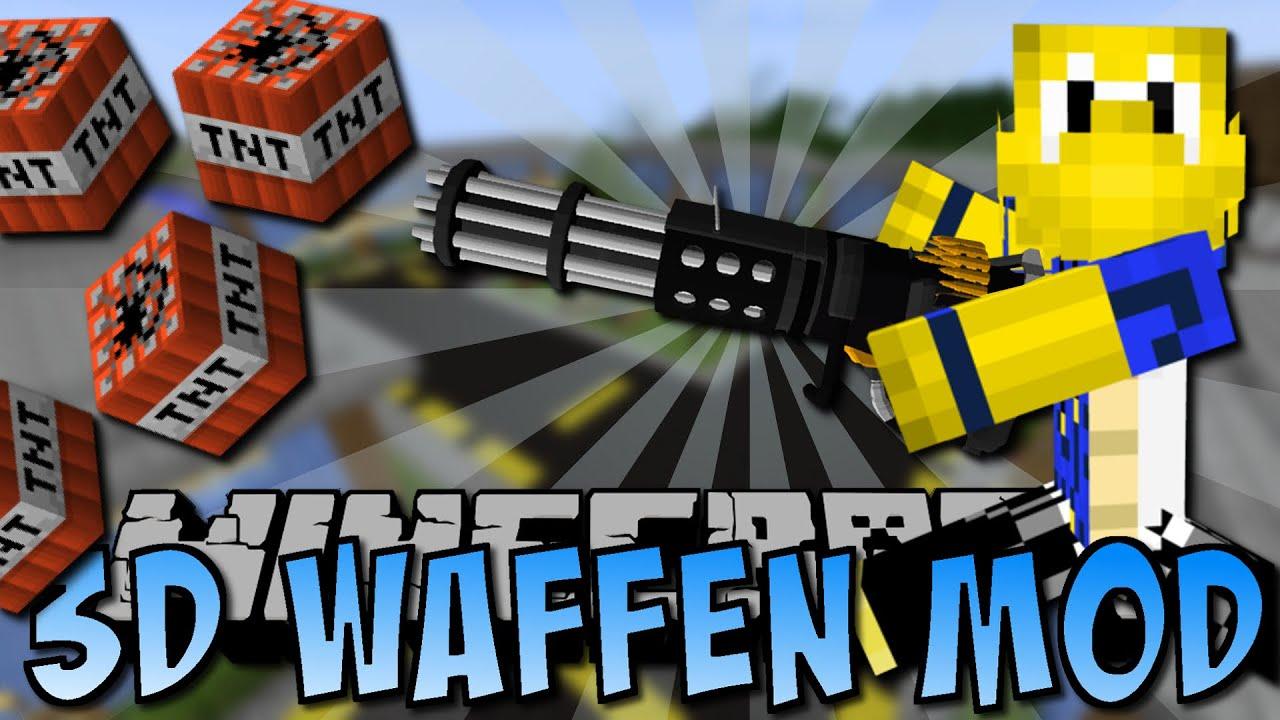 Minecraft 3d Waffen Mod Granatwerfer Minigun Schwerter Deutsch