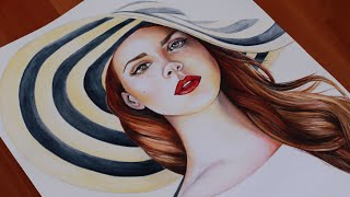 Lana Del Rey ♥ Fan Art ♕ Speed Painting Time Lapse Video  - Drawing Portrait Realistic - Honeymoon