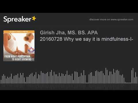 20160728 Why we say it is mindfulness-I-