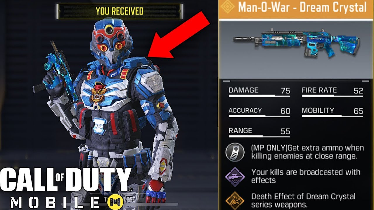 Call Of Duty Mobile Unlocking Spectre Ultra 9 Character Legendary Man O War Dream Crystal Skin Youtube