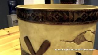 Blonder Pine Woods Wastebasket | Rustic Decor From Jhe's Log Furniture Place