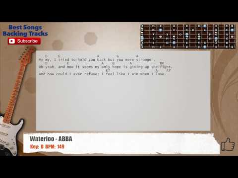 Waterloo - ABBA Guitar Backing Track with chords and lyrics