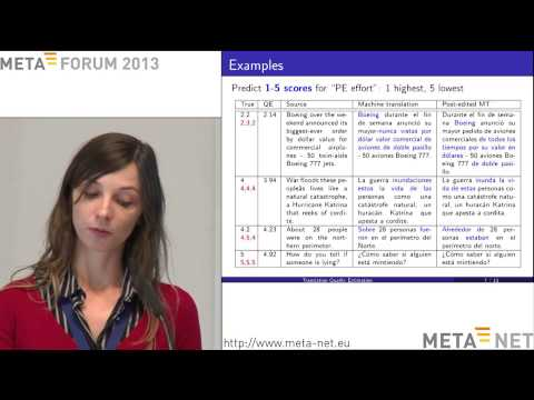 Lucia Specia: Software and Tools for HQ Translation -- Quality Estimation. META-FORUM 2013