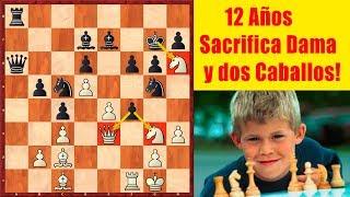 Cuando Magnus Carlsen era un Niño (12 años), así Sacrificaba la Dama y dos Caballos!