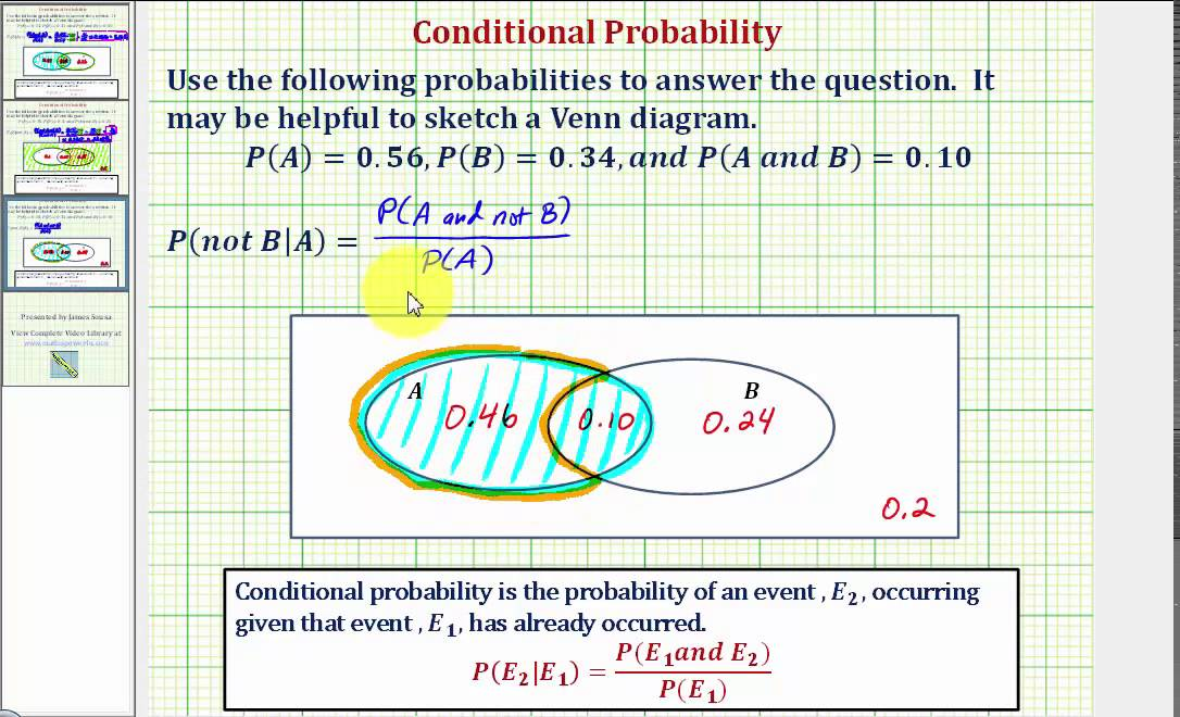 Ex 3 Determine A Conditional Probability Using A Venn Diagram P